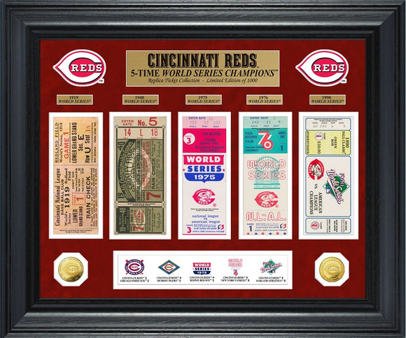 CINCINNATI REDS WORLD SERIES DELUXE GOLD COINS & TICKET COLLECTION