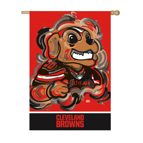 CLEVELAND BROWNS JUSTIN PATTEN SUEDE HOUSE FLAG