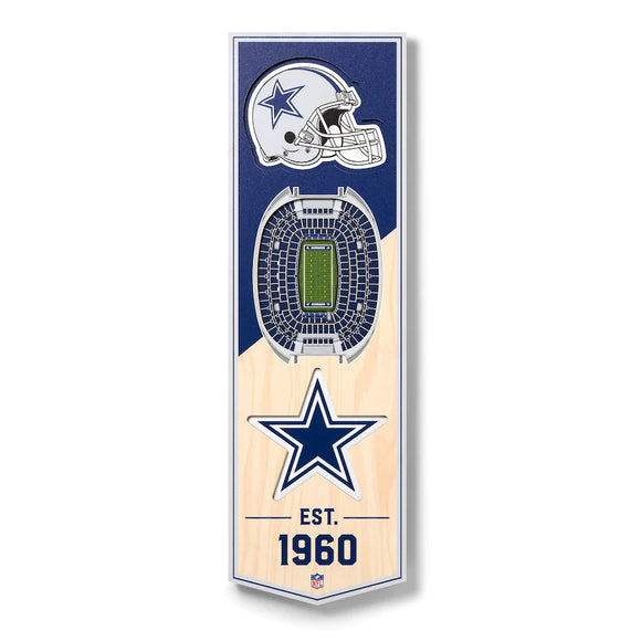 DALLAS COWBOYS 3D STADIUM VIEW WOOD BANNER