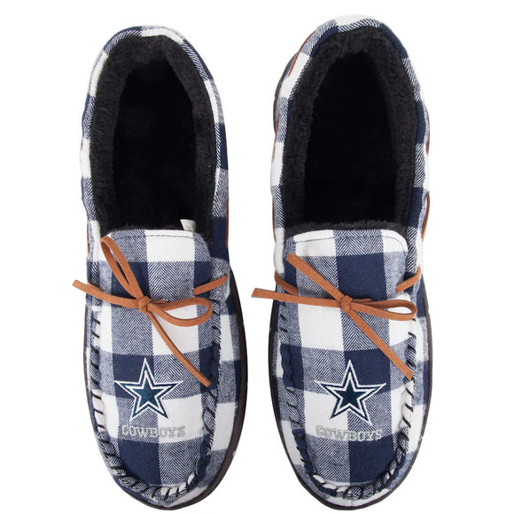 DALLAS COWBOYS MEN'S FLANNEL MOCCASIN SLIPPERS