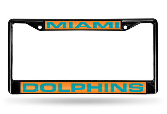 MIAMI DOLPHINS BLACK LASER LICENSE PLATE FRAME