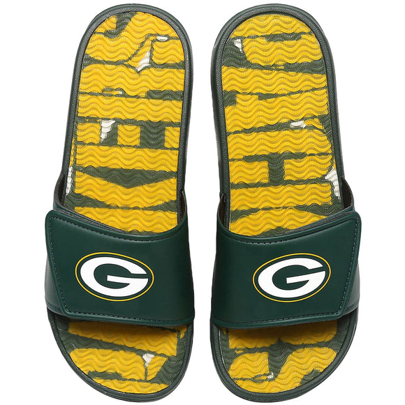 GREEN BAY PACKERS MEN'S GEL SLIDES