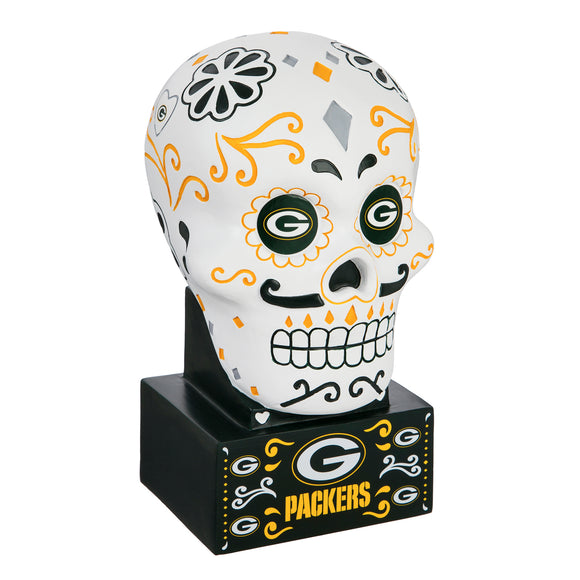 GREEN BAY PACKERS SUGAR SKULL HEAD