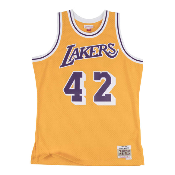 JAMES WORTHY MEN'S MITCHELL & NESS 84-85' SWINGMAN JERSEY