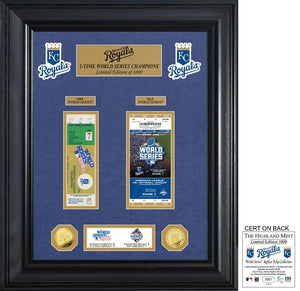 KANSAS CITY ROYALS WORLD SERIES DELUXE GOLD COIN & TICKET COLLECTION
