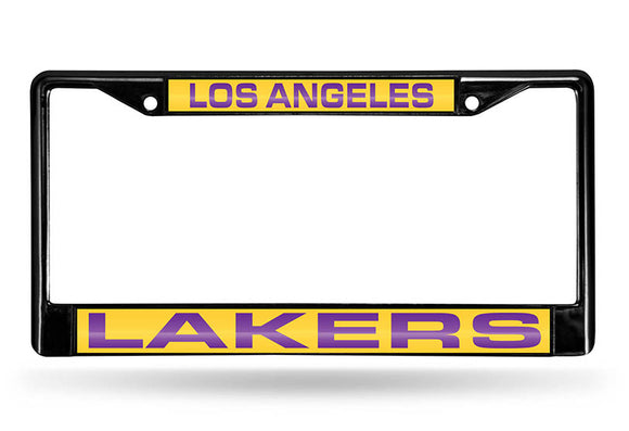 LOS ANGELES LAKERS BLACK LASER LICENSE PLATE FRAME