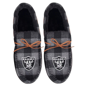 LAS VEGAS RAIDERS MEN'S  FLANNEL MOCCASIN SLIPPERS