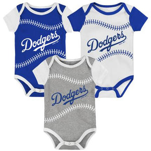 LOS ANGELES DODGERS NEWBORN BEST EVER 3 PACK ONESIE SET
