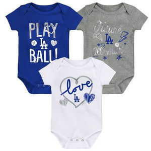 LOS ANGELES DODGERS NEWBORN RUNTASTIC 3 PACK SET
