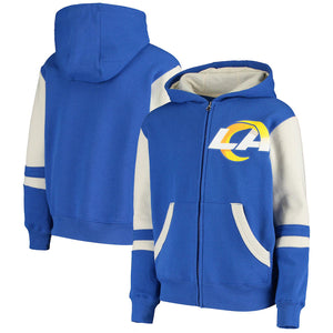 LOS ANGELES RAMS YOUTH FULL ZIP STADIUM COLORBLOCK SWEATER