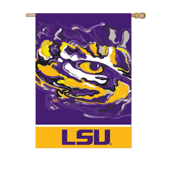 LSU TIGERS JUSTIN PATTEN SUEDE HOUSE FLAG