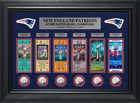 NEW ENGLAND PATRIOTS SUPER BOWL CHAMPIONS DELUXE GOLD COIN TICKET COLLECTION