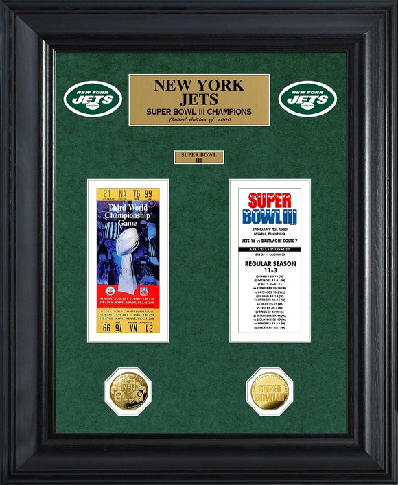 NEW YORK JETS SUPER BOWL CHAMPIONS DELUXE GOLD COIN TICKET COLLECTION