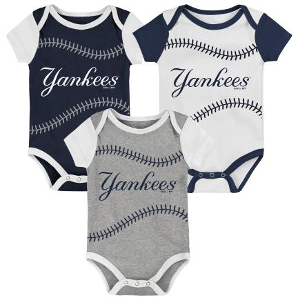 NEW YORK YANKEES NEWBORN BEST EVER 3 PACK ONESIE SET