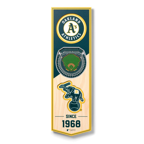 OAKLAND ATHLETICS 3D STADIUM VIEW WOOD BANNER