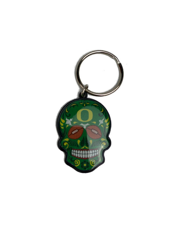 OREGON DUCKS SUGAR SKULL KEYCHAIN
