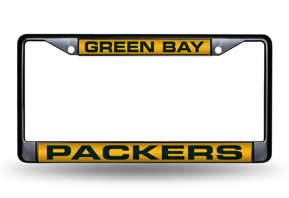 GREEN BAY PACKERS BLACK LASER LICENSE PLATE FRAME