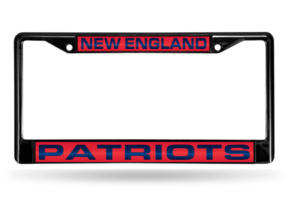 NEW ENGLAND PATRIOTS BLACK LASER LICENSE PLATE FRAME