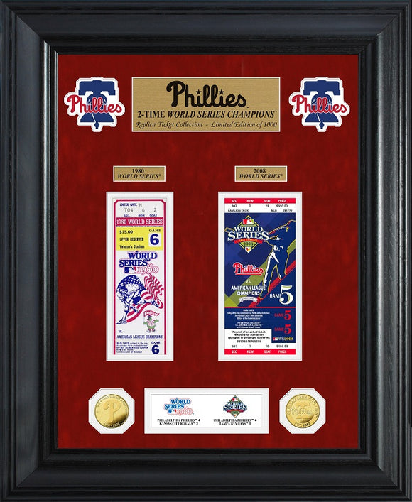 PHILADELPHIA PHILLIES WORLD SERIES DELUXE GOLD COIN & TICKET COLLECTION