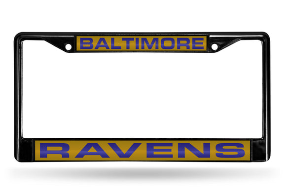 BALTIMORE RAVENS BLACK LASER LICENSE PLATE FRAME