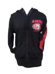 SAN FRANCICSCO 49ERS LADIES LOGO GLITTER ARM BLACK HD SWEATER