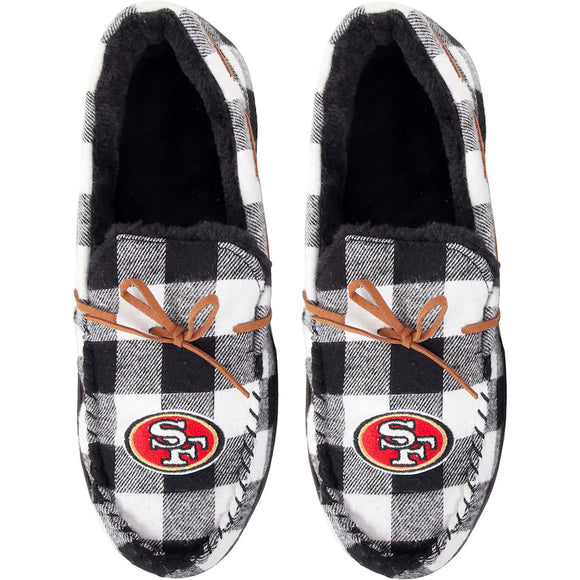 SAN FRANCISCO 49ERS MEN'S FLANNEL MOCCASIN SLIPPERS