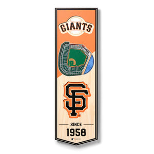 SAN FRANCISCO GIANTS 3D STADIUM VIEW WOOD BANNER