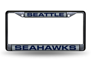 SEATTLE SEAHAWKS BLACK LASER LICENSE PLATE FRAME