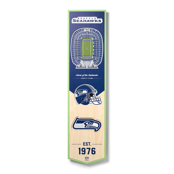 SEATTLE SEAHAWKS 3D STADIUM VIEW WOOD BANNER