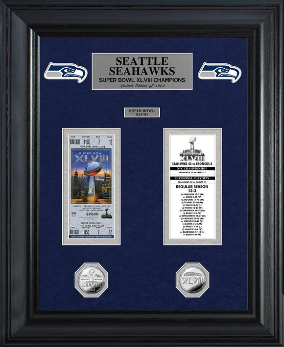 SEATTLE SEAHAWKS SUPER BOWL CHAMPIONS DELUXE GOLD COIN TICKET COLLECTION