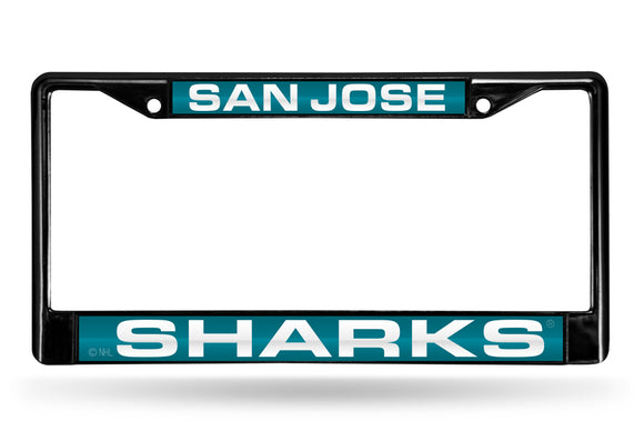 SAN JOSE SHARKS BLACK LASER LICENSE PLATE FRAME