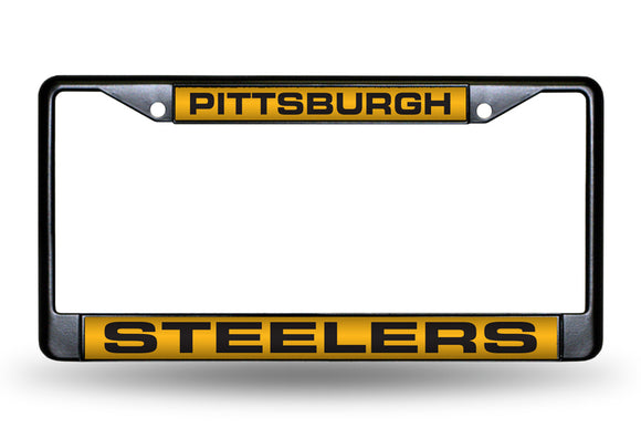 PITTSBURGH STEELERS BLACK LASER LICENSE PLATE FRAME