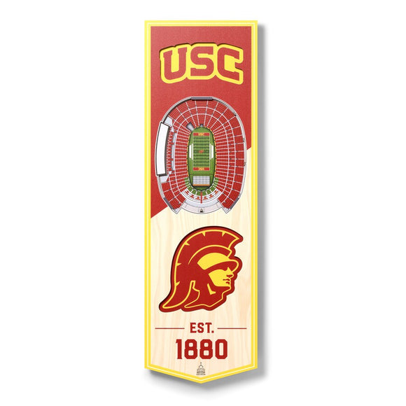 USC TROJANS 3D STADIUM VIEW WOOD BANNER