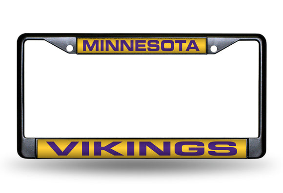 MINNESOTA VIKINGS BLACK LASER LICENSE PLATE FRAME