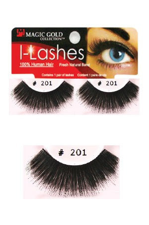 I-Lashes 100% Human Hair Eyelashes #201 Black