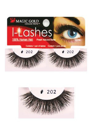 I-Lashes 100% Human Hair Eyelashes  #202 Black