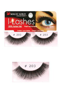 I-Lashes 100% Human Hair Eyelashes #203 Black