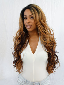4 × 4 Extra Deep Lace Wig Bianca, Human Hair Blend Wig