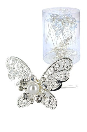 Stone Hair Pin 20/Jar Silver -  Butterfly