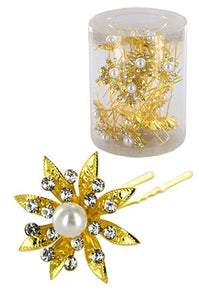Stone Hair Pin  20/jar Gold  - jar  flower