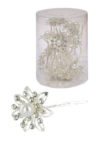 Stone Hair Pin  20/jar Silver  - jar  flower