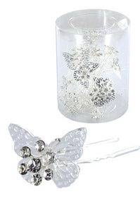 Stone Hair Pin 20/jar Silver-  Butterfly