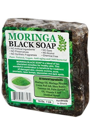 Black Soap-Moringa (16oz./1LB)