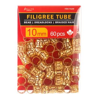 KIM & C Filigree Tube Gold Bead Pack of 60, 10mm