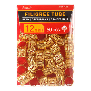 KIM & C Filigree Tube Gold Bead Pack of 50, 12mm