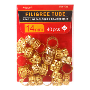 KIM & C Filigree Tube Gold Bead Pack of 40, 14mm