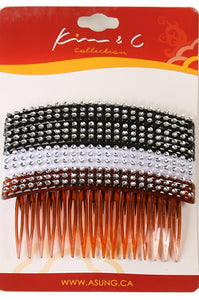 4pc Stone Hair Comb Clip Assorted