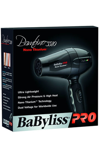 BabylissPRO Bambino 5510 Nano Titanium Travel Dryer [Dual Voltage]