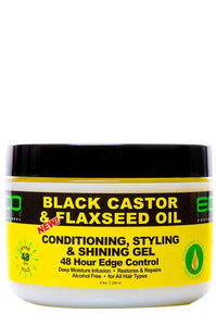 Eco 48hr Edge Control Black Castor & Flaxseed Oil 8oz