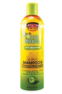 African Pride Olive Miracle 2in1 Shampoo & Conditioner 12oz